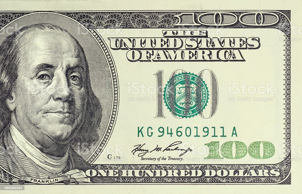 100 dollar bill stock photo
