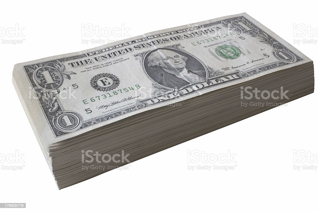 Dollar bill pile royalty-free stock photo