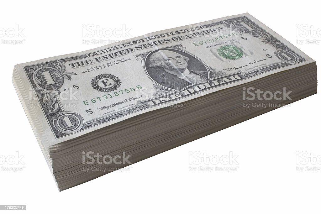 Dollar bill pile stock photo
