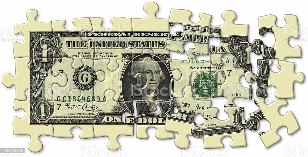 Dollar Bill Puzzle royalty-free stock photo