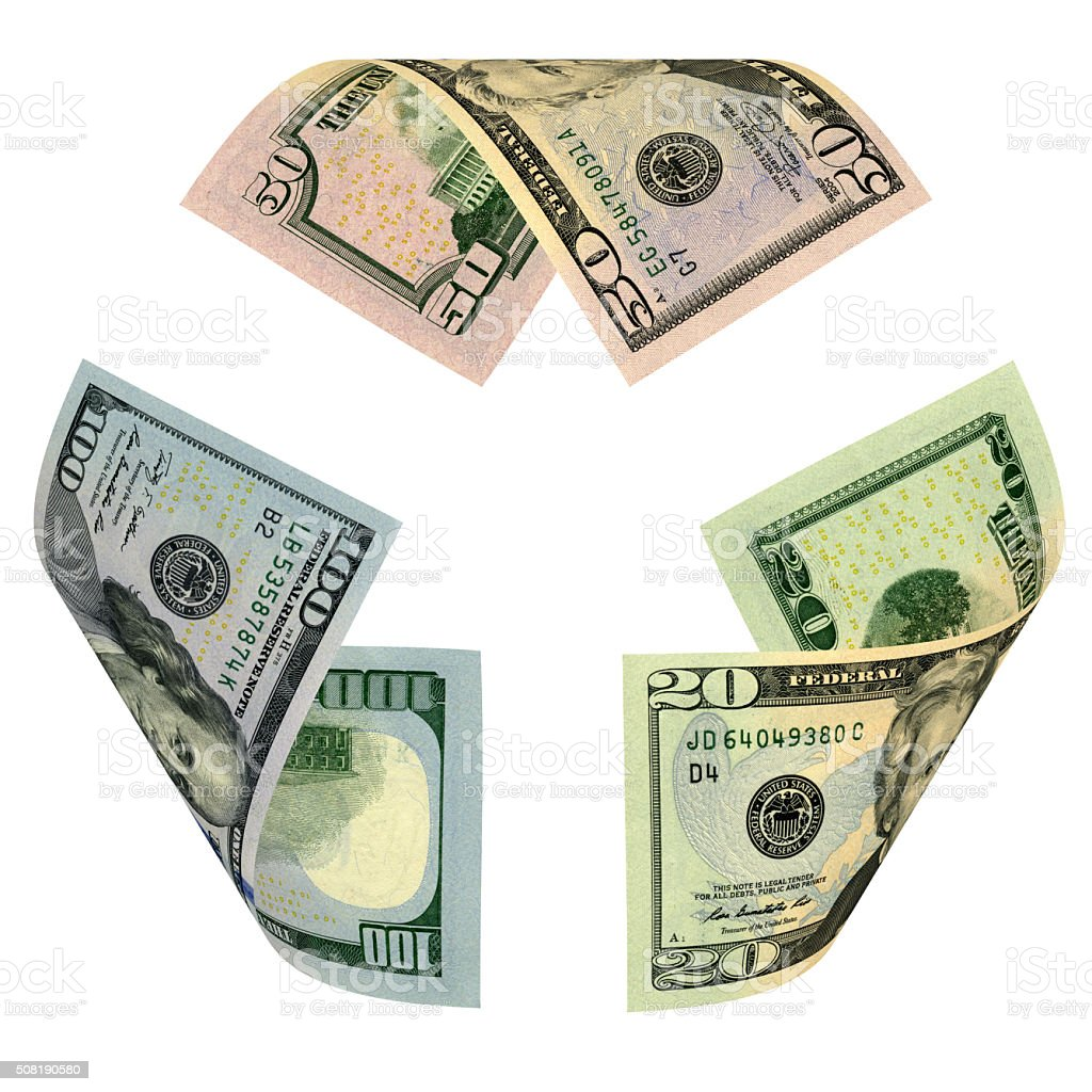 Dollar Bill Recycle Sign stock photo