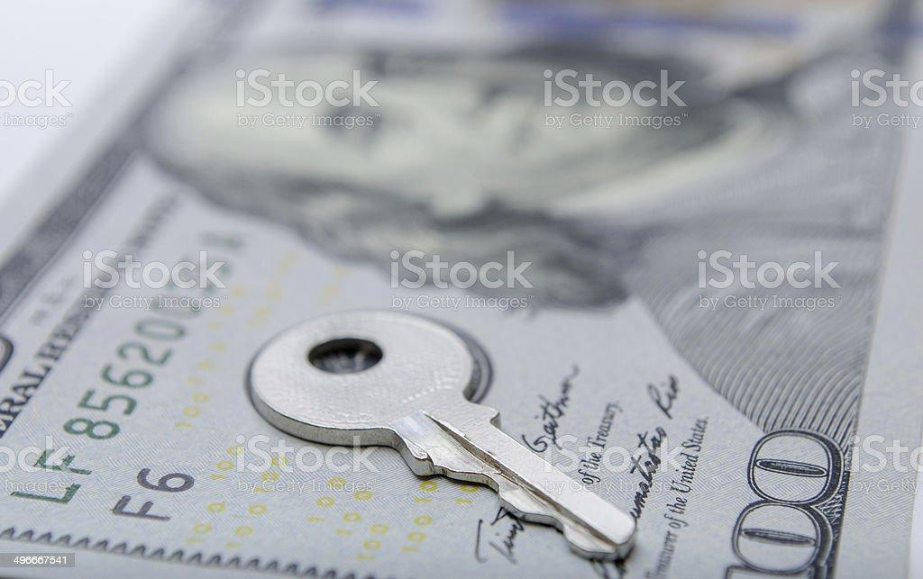 Dollar bill with padlock stock photo