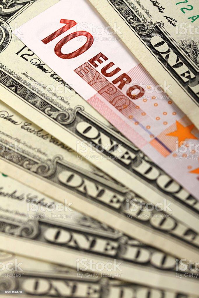 US dollar bills against EURO bank note royalty-free stock photo