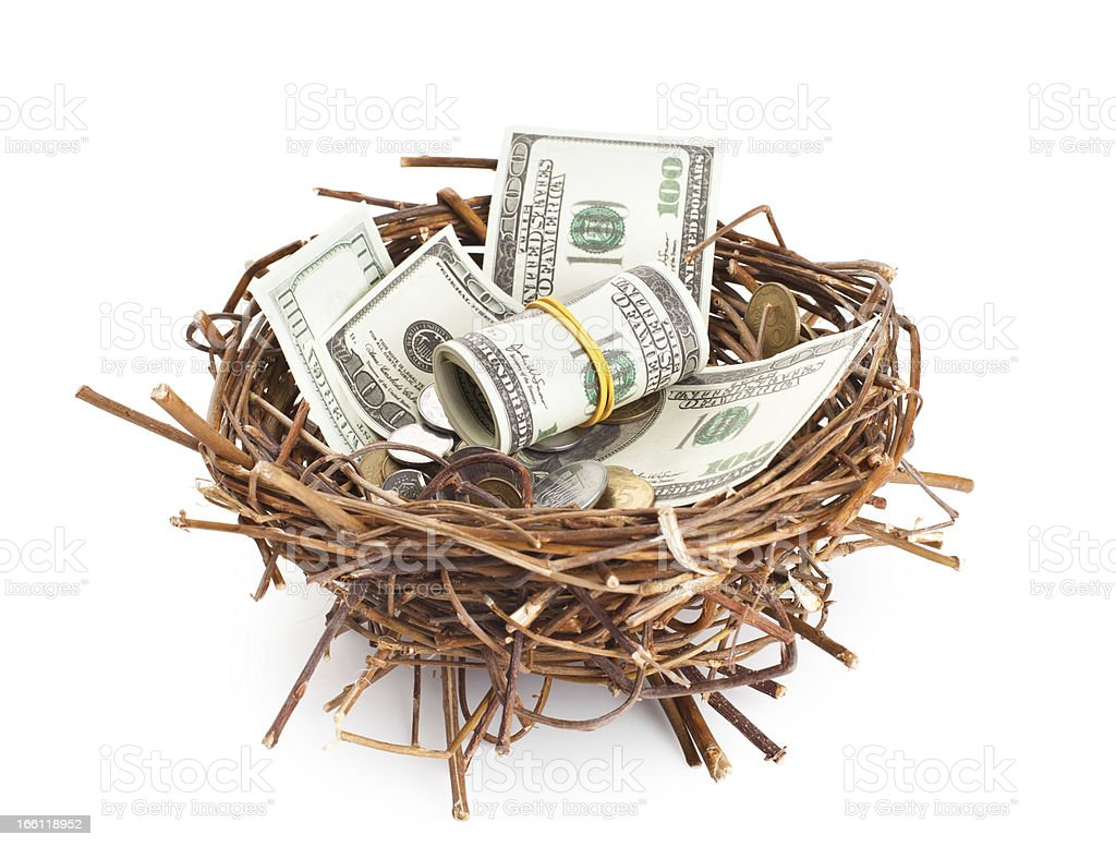 Dollar bills and coins in a birds nest royalty-free stock photo