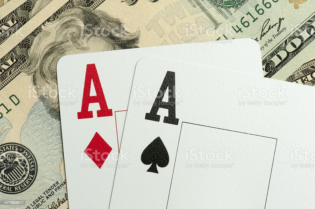 dollar bills and playing cards royalty-free stock photo