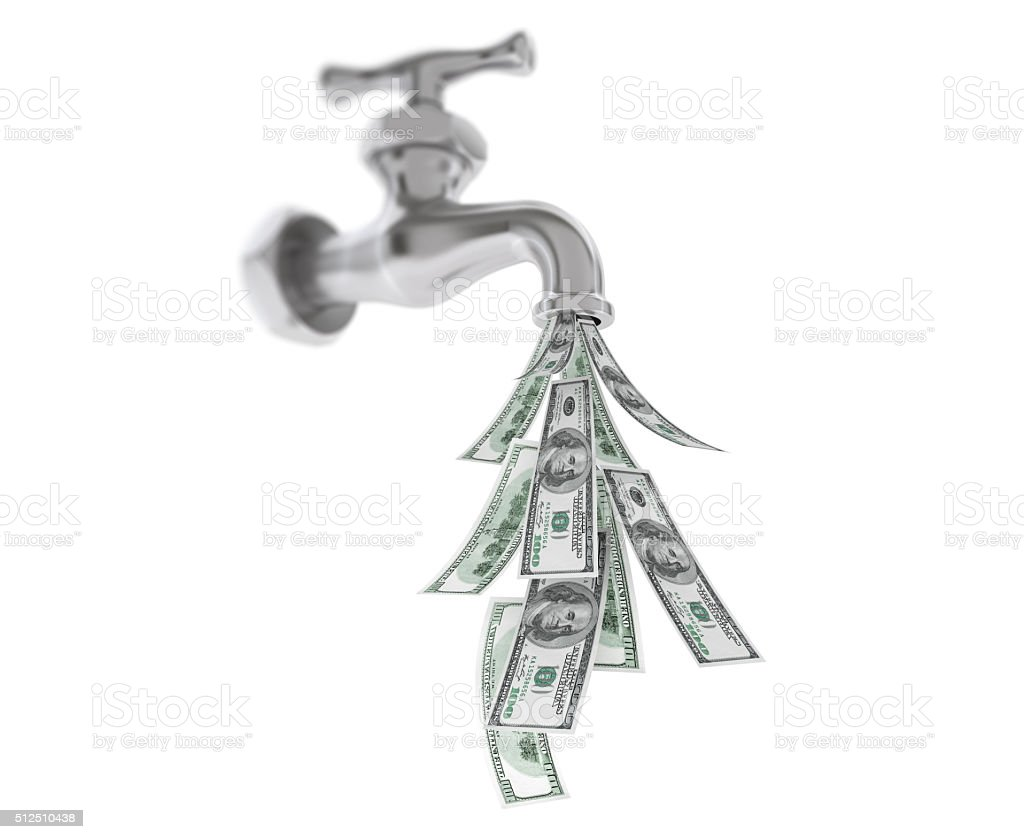 Dollar Bills Coming Out From Chrome Water Tap stock photo