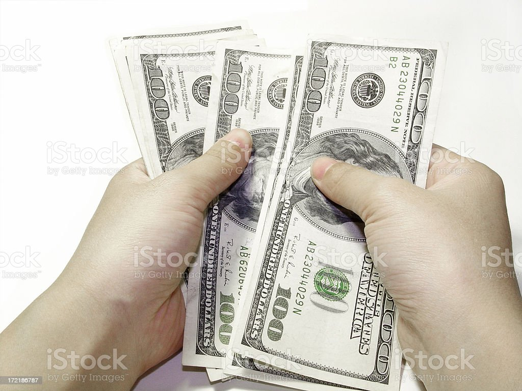 $100 dollar bills counted. Counting Money. stock photo