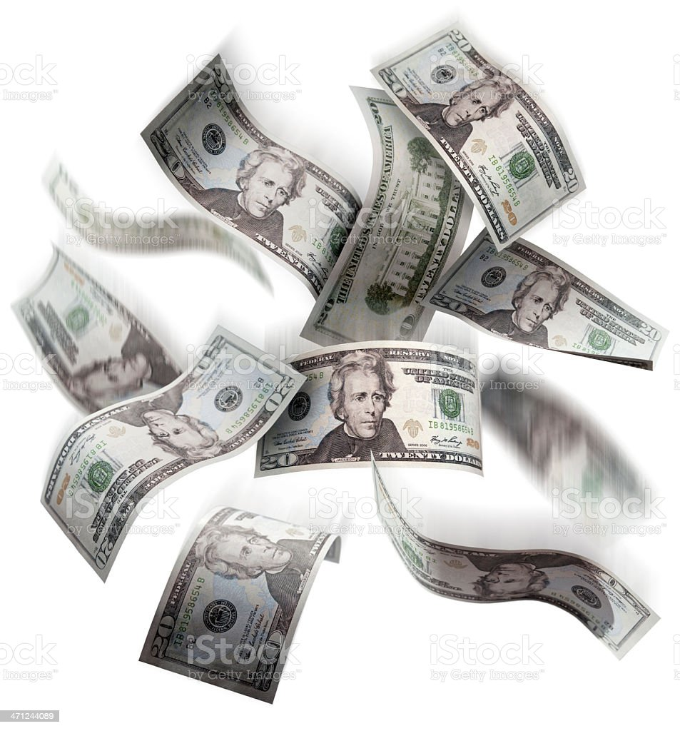 Dollar bills falling from the sky stock photo