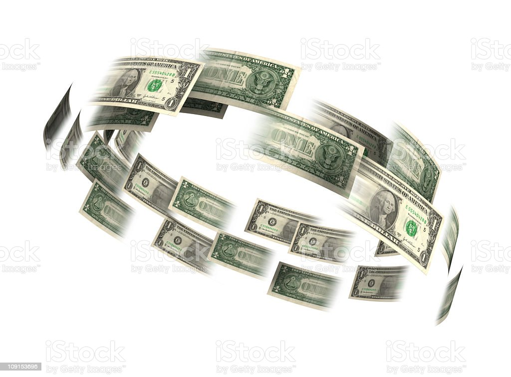 Dollar bills flying in a circle stock photo