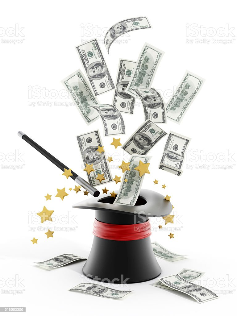 100 dollar bills flying out of illusionist hat stock photo