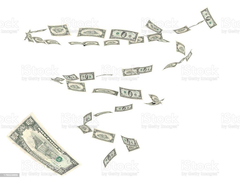 Dollar bills hurricane 2 stock photo