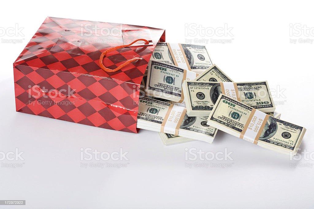 US 100 dollar bills in gift bag royalty-free stock photo