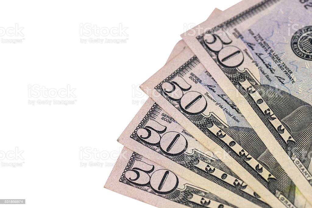 50 dollar bills  isolated stock photo