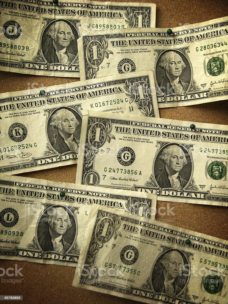 Dollar Bills on Bulletin Board royalty-free stock photo