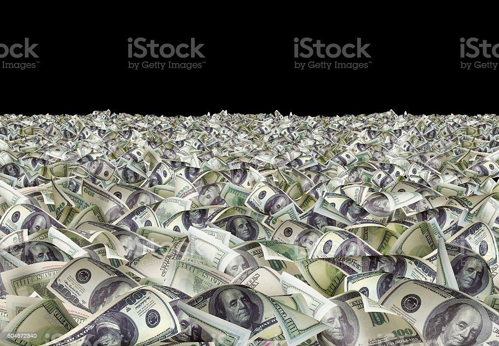 Dollar bills on the black background stock photo