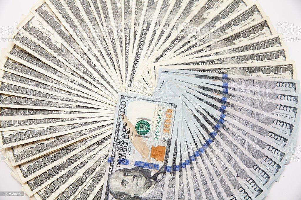 $100 US dollar bills stock photo