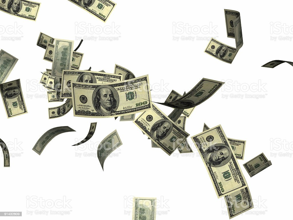 Dollar bills shooting out of the picture royalty-free stock photo