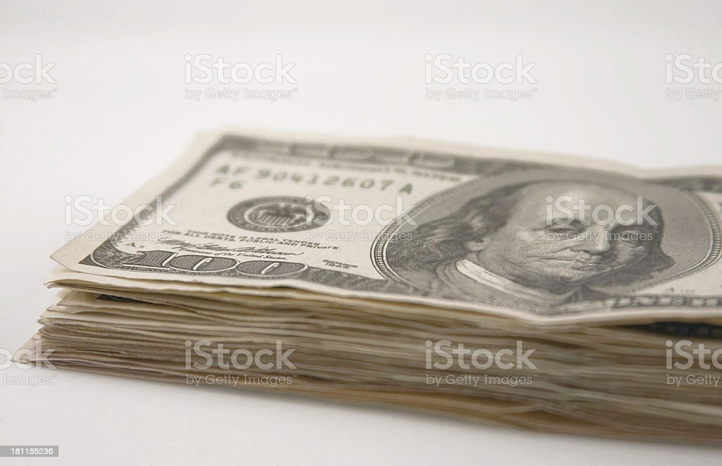 $100 Dollar Bills, Side View royalty-free stock photo