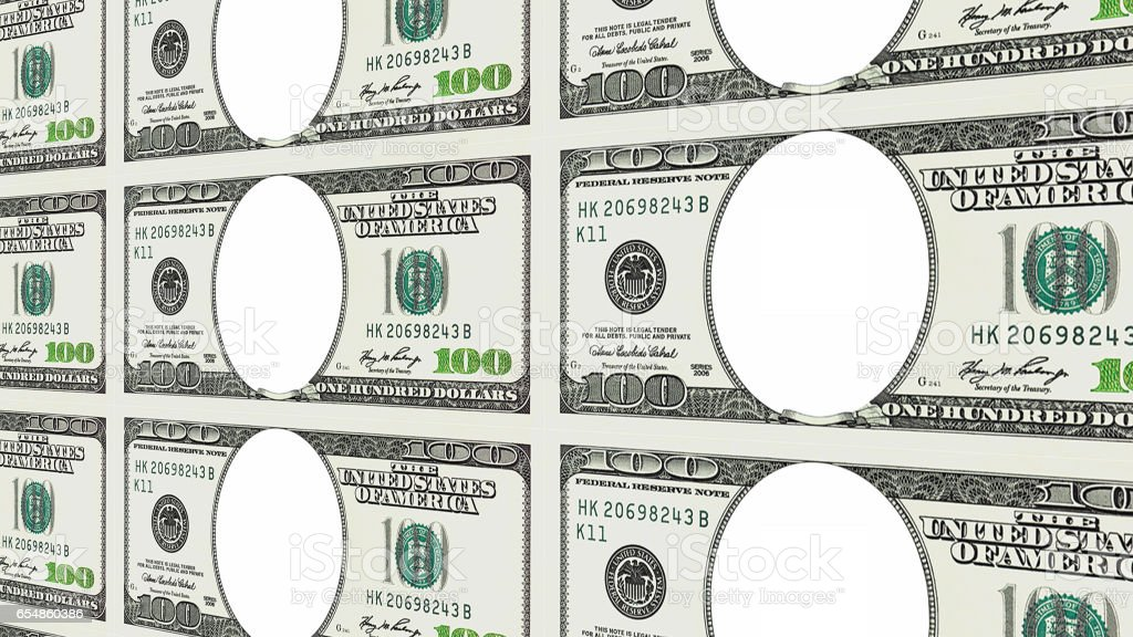 100 dollar bills with no face in 3d perspective stock photo