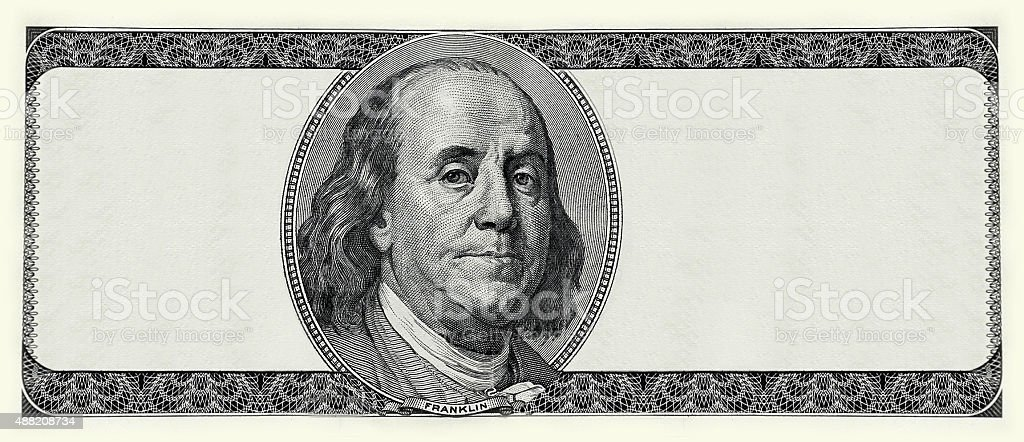 dollar blank banknot with benjamin portrait stock photo