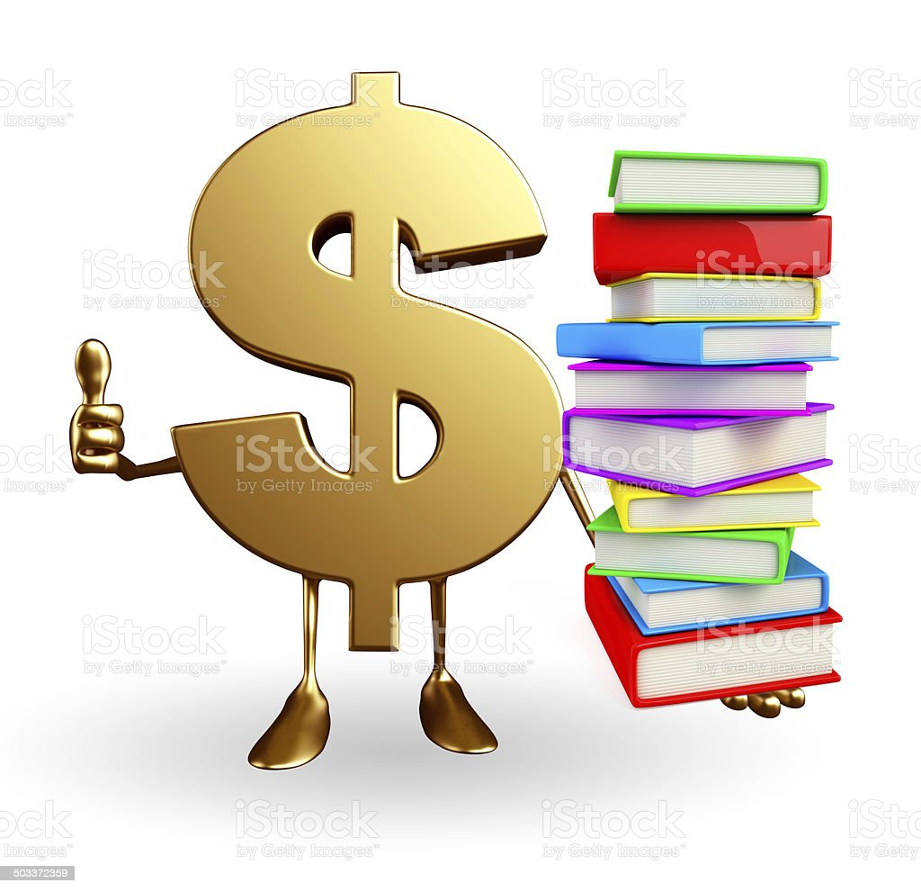 Dollar Character with  pile of books stock photo