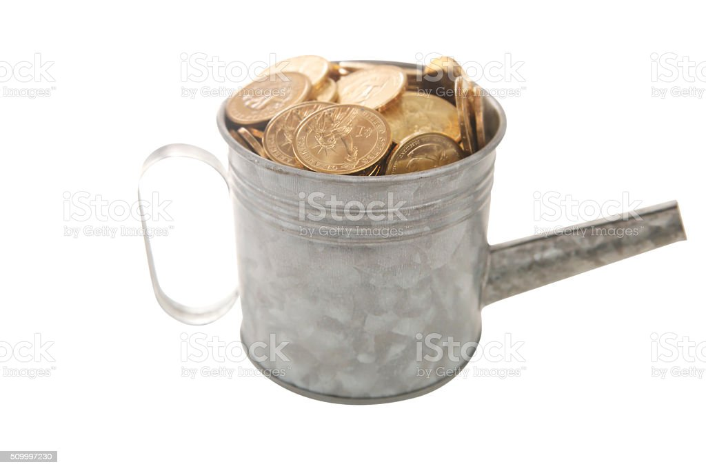 Dollar coin filled in watering pot stock photo