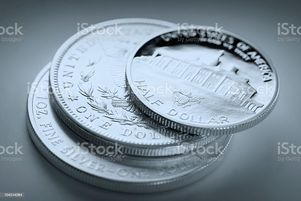 stack of dollar coins stock photo