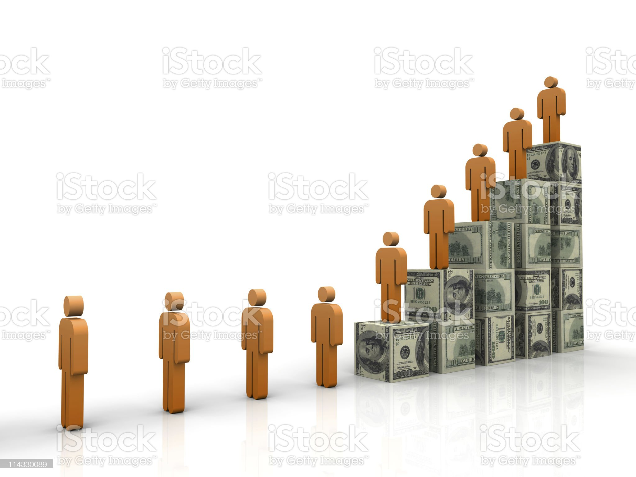 Dollar Cubes Stair with People royalty-free stock photo