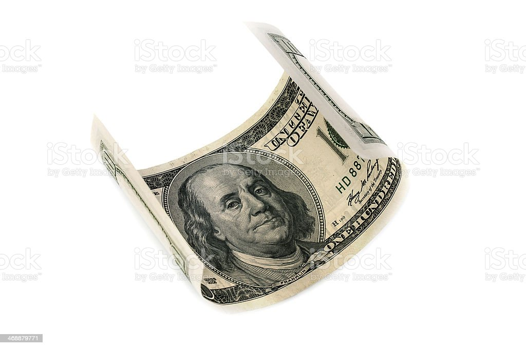 Dollar curled up royalty-free stock photo