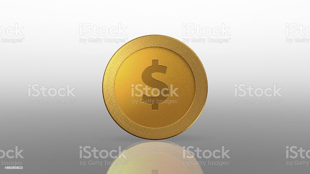 dollar currency gold coin white exchange stock photo