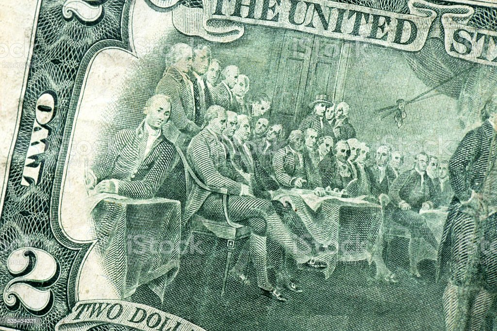 2 Dollar - Declaration of Independence stock photo