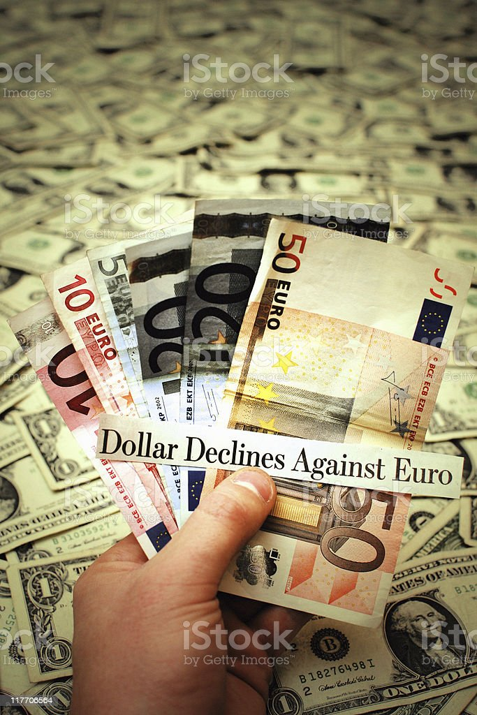 U.S. Dollar Declines Against Euro - Currency Exchange Concept Photo stock photo