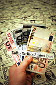 U.S. Dollar Declines Against Euro - Currency Exchange Concept Photo