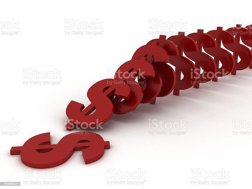 Dollar Domino Effect royalty-free stock photo