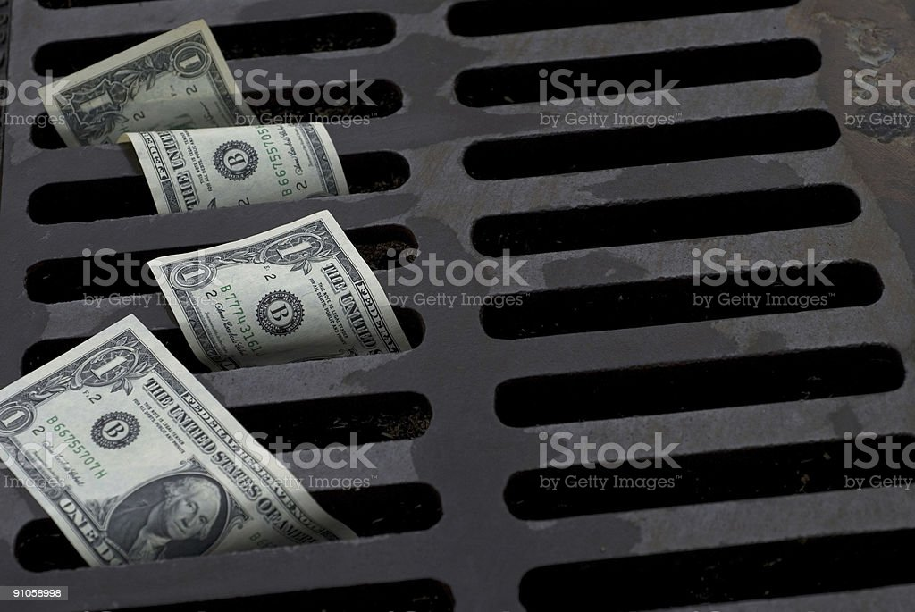 Dollar drain royalty-free stock photo