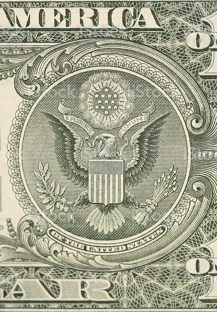 Dollar eagle banknote close up. stock photo