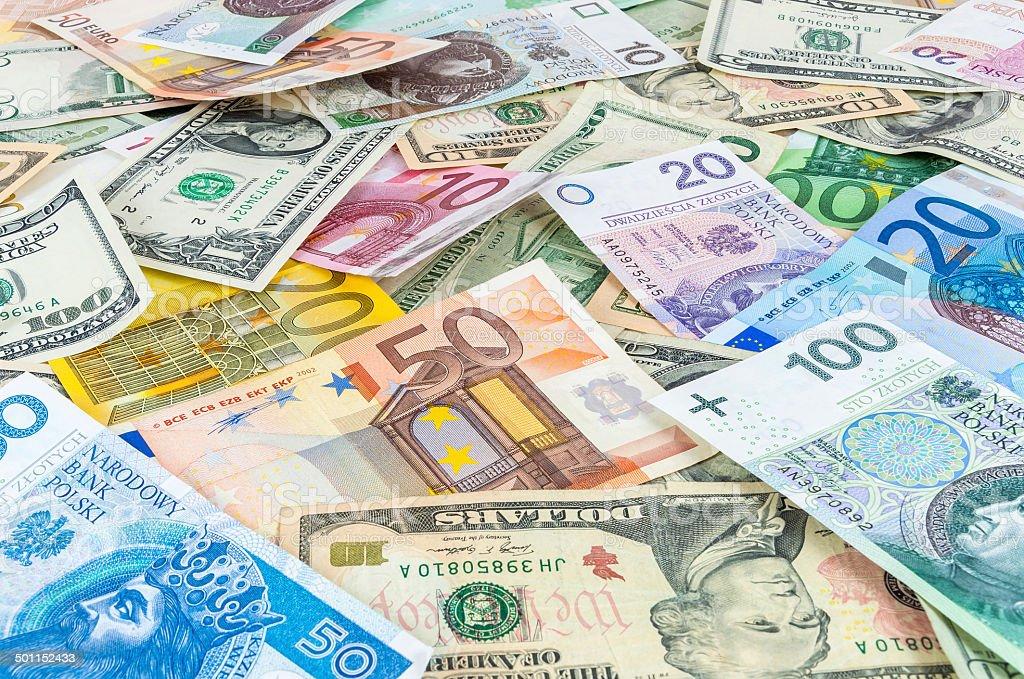 Dollar, euro and polish zloty money background stock photo