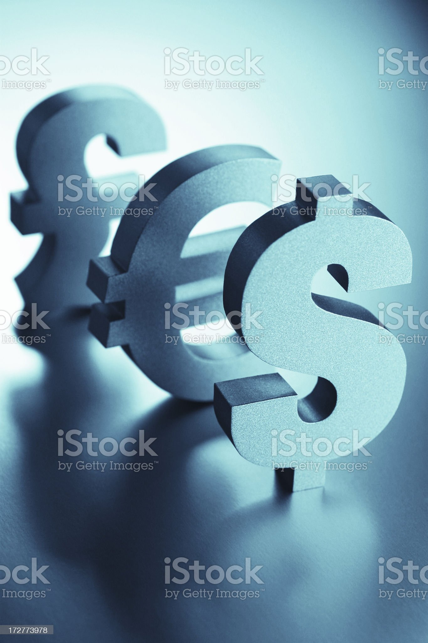 Dollar, Euro and Pound Signs royalty-free stock photo