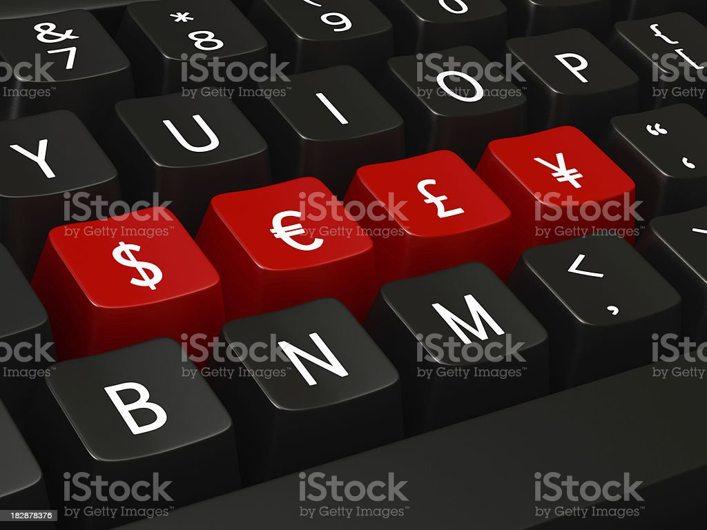 Dollar, Euro, Pound and Yen  Signs on Keyboard royalty-free stock photo