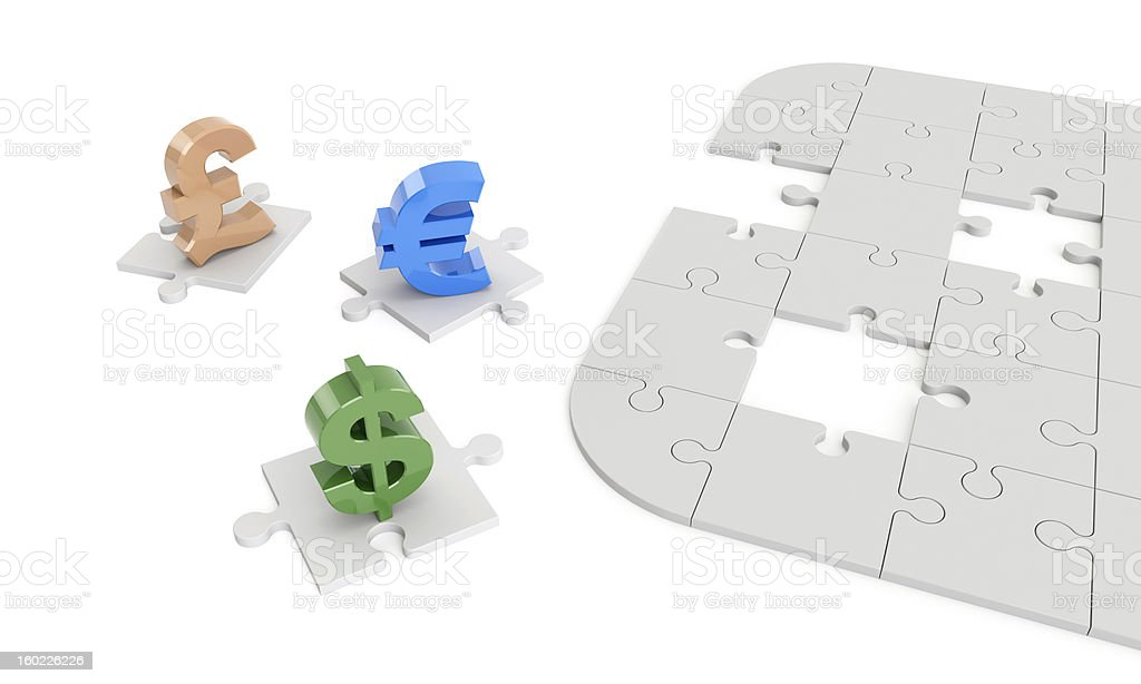 dollar, euro, pound signs on jigsaw puzzle pieces stock photo
