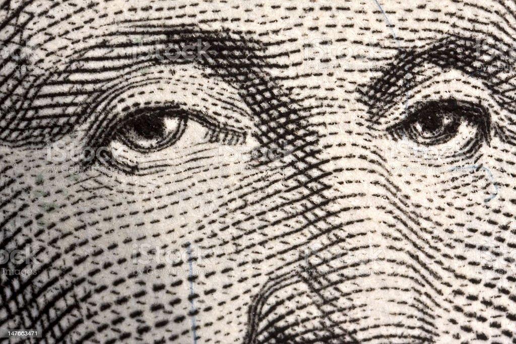 Augen US-Dollar Lizenzfreies stock-foto