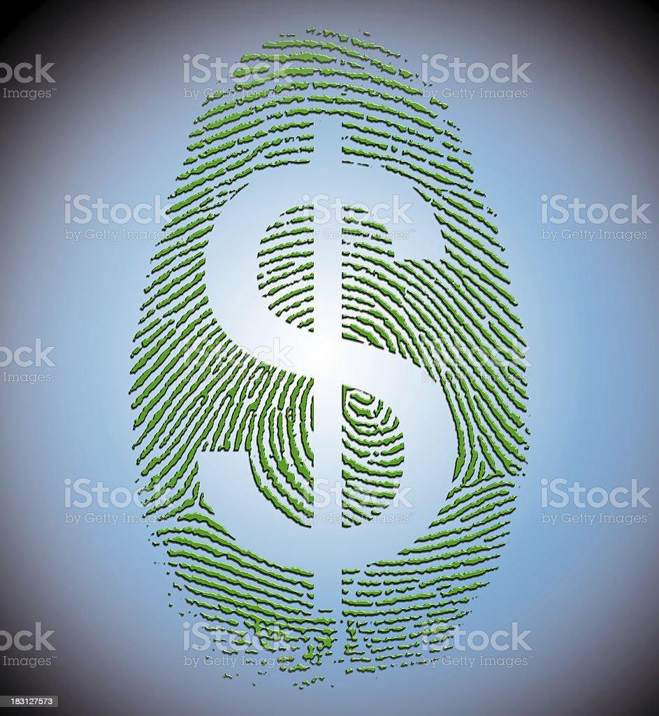 Dollar Finger Print royalty-free stock photo