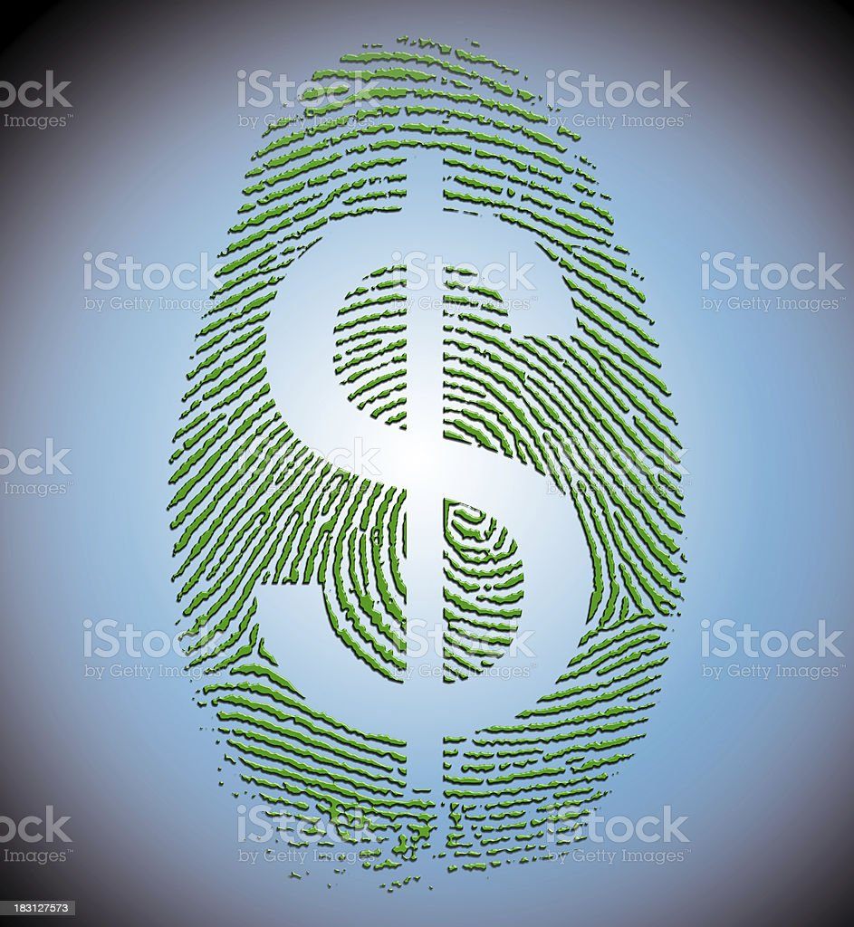 Dollar Finger Print stock photo