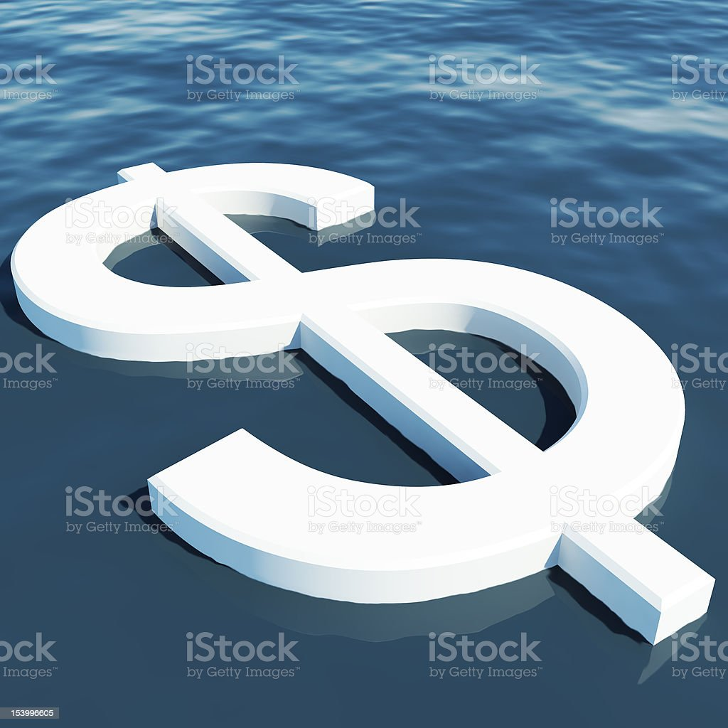 Dollar Floating Showing Money Wealth Or Earnings royalty-free stock photo