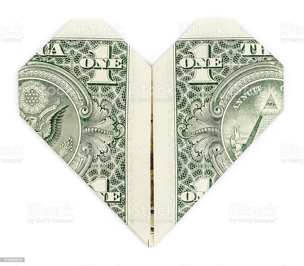 Dollar folded into heart stock photo