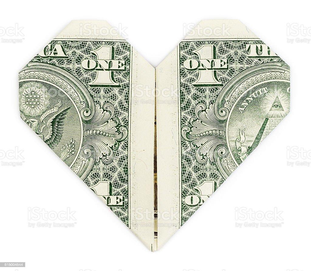 Dollar folded into heart stock photo