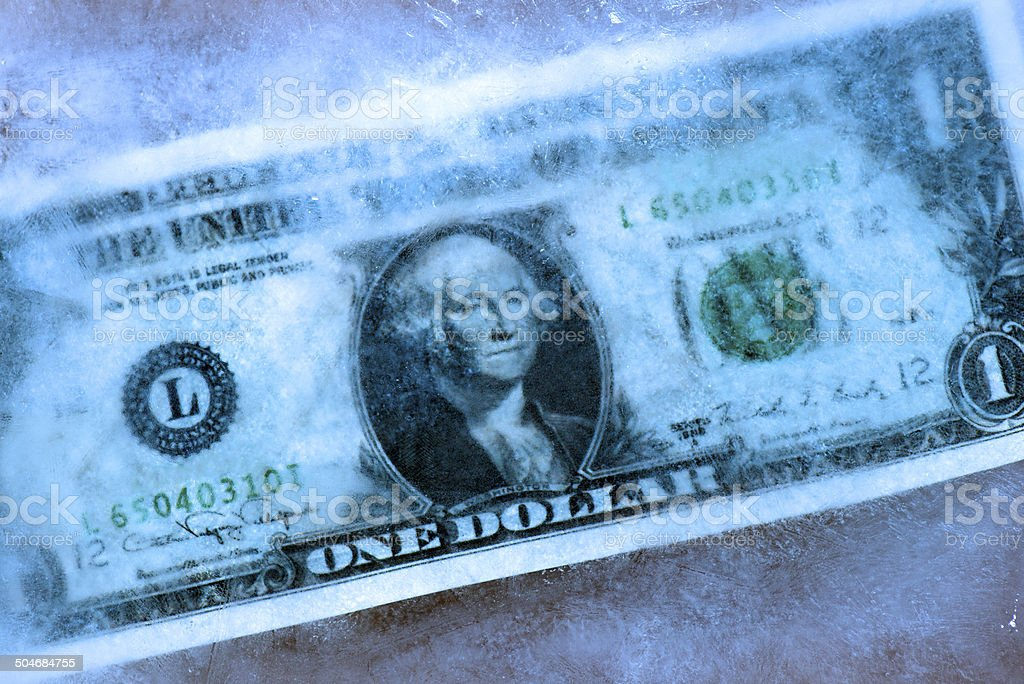 Dollar freeze stock photo