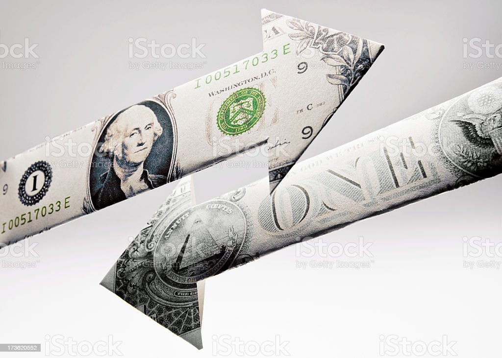 US Dollar Going Up & Down stock photo