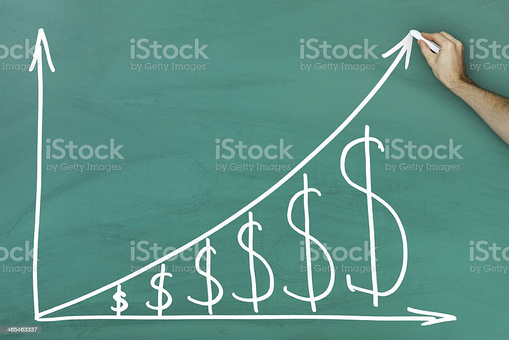 Dollar growth chart stock photo
