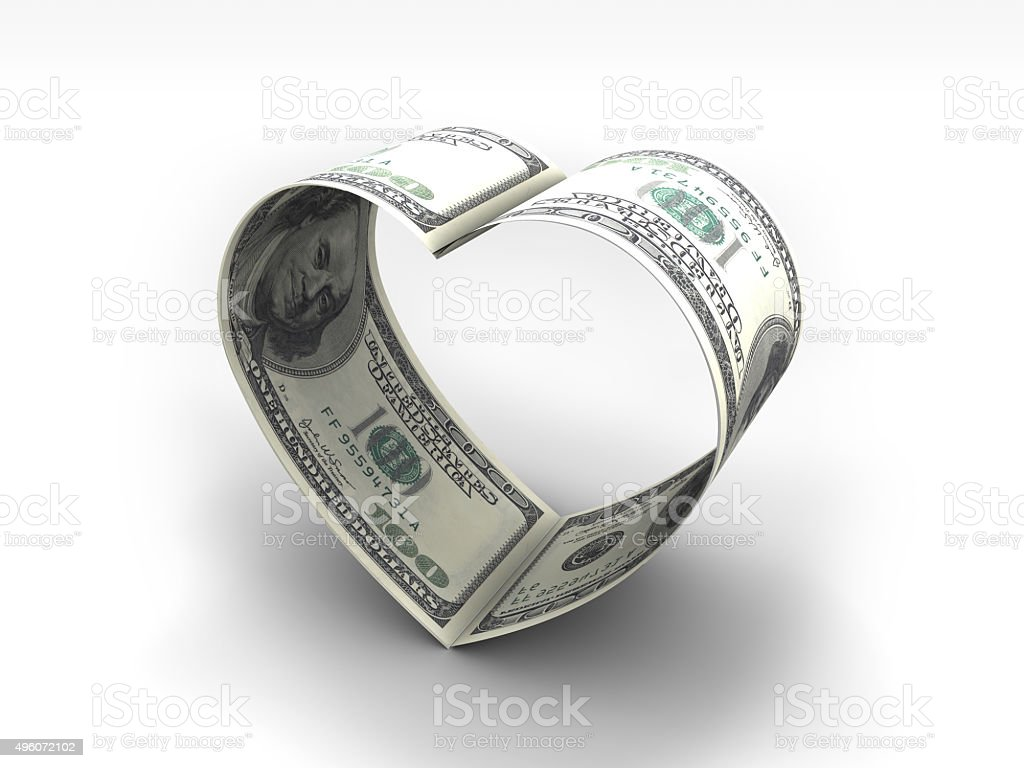 Dollar Heart stock photo